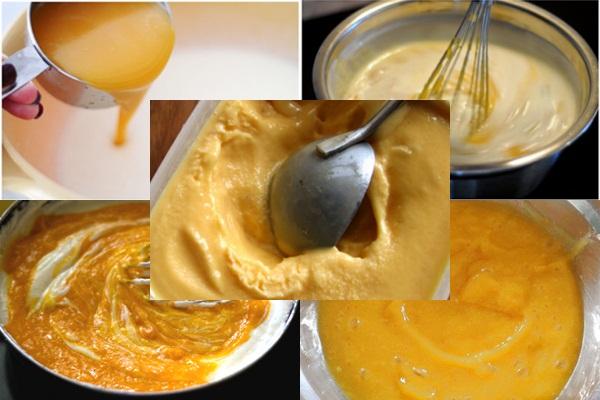 Khuấy nguyên liệu ra thành phần hỗn hợp để làm món kem xoài