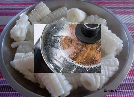 Cách làm mực hấp nước dừa hình 2
