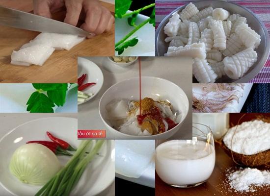 Cách làm mực xào nước cốt dừa hình 2