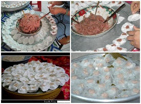 Thực hiện làm món bánh bao, bánh vạc Hội An và hấp bánh cho chín