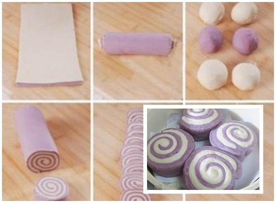 Cách làm bánh bao hai màu hình 5