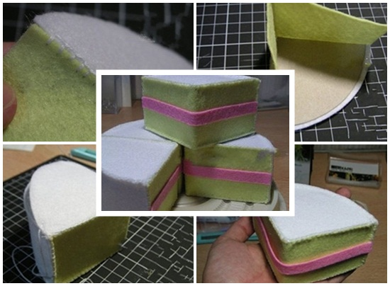 Cách làm bánh kem bằng vải nỉ hình 3
