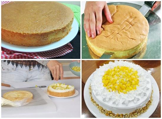 Tiến hành làm bánh kem bắp