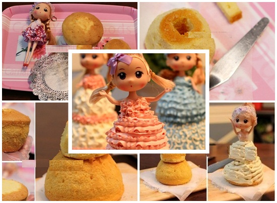 Cách làm bánh kem barbie hình 3