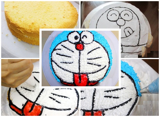 Cách làm bánh kem Đoremon hình 3