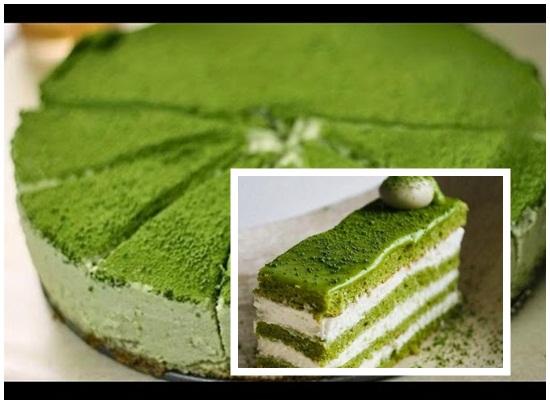 Trình bày và ăn bánh kem trà xanh