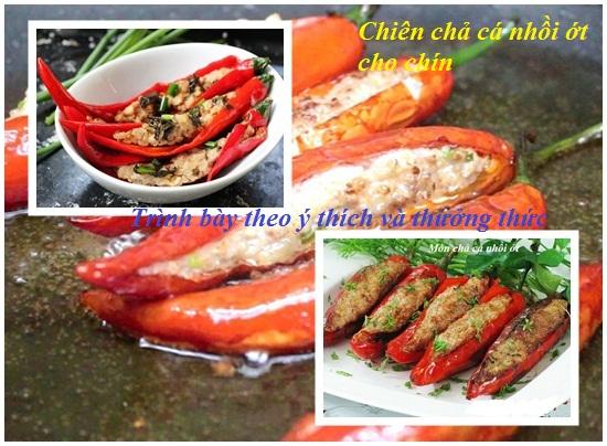 Cách làm chả cá nhồi ớt hình 4Tiến hành chiên chả cá