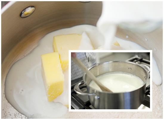 Nấu các thành phần hỗn hợp bơ và sữa
