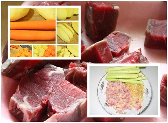 Chế biến thịt và các loại nguyên liệu làm bò sốt rượu vang