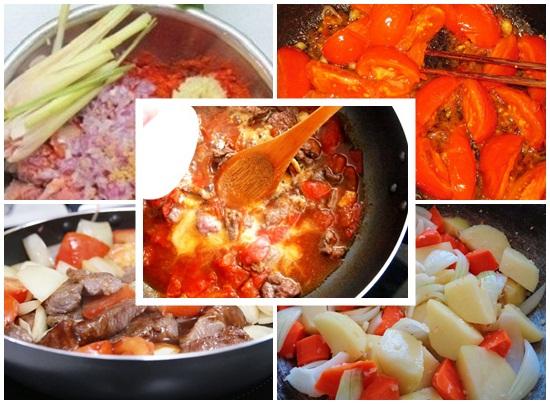 Nấu thịt bò sốt vang
