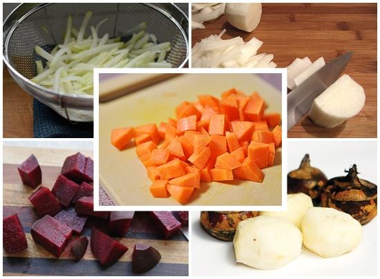 Chuẩn bị nguyên liệu rau củ những loại rau củ