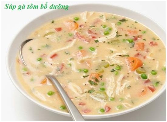 Cách nấu súp gà tôm hình 1