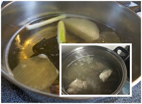 Đun nước dùng nấu hoành thánh