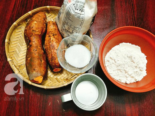 Nguyên liệu cần cho cách làm bánh khoai lang tẩm bột