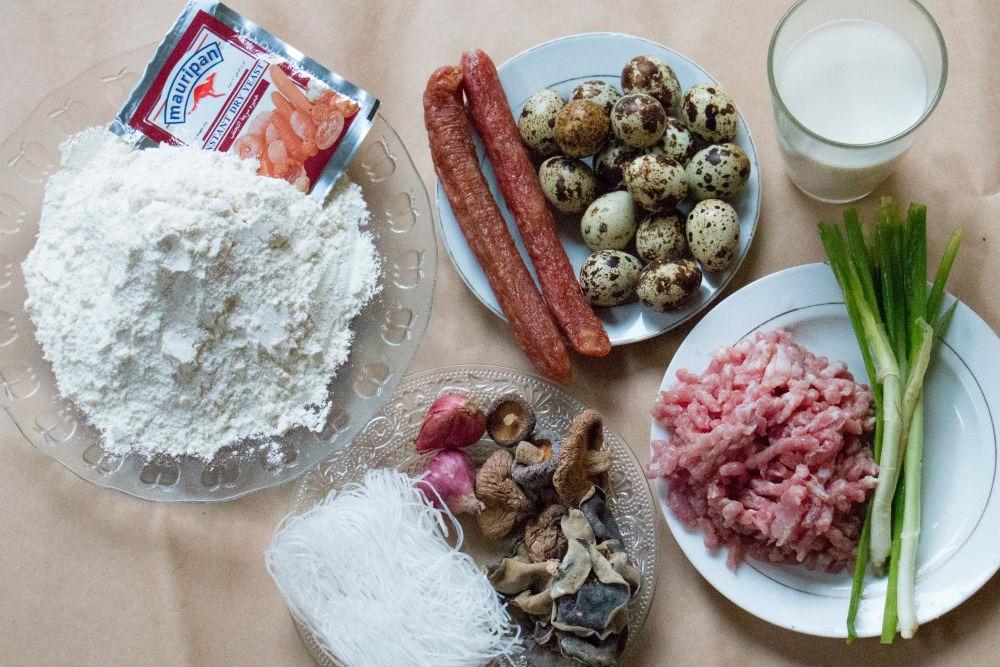 Nguyên liệu cần cho cách làm bánh bao chiên nhân thịt