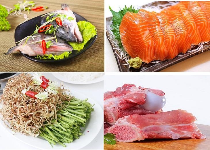 Nguyên liệu cần cho cách nấu canh chua đầu cá hồi