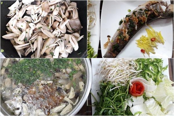 Các bước tiến hành cách nấu cháo cá lóc rau đắng