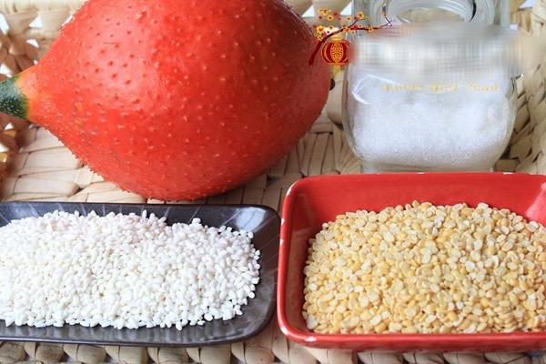 Nguyên liệu cần cho cách nấu xôi gấc đậu xanh
